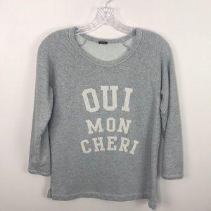 J. Crew Oui Mon Cheri Gray French Terry Sweatshirt